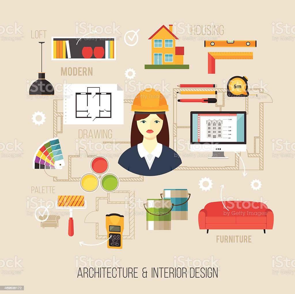 https://media.istockphoto.com/vectors/architecture-and-interior-design-concept-women-architect-with-icons-vector-id469638172