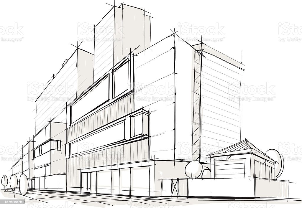 Architecture. Building. Sketch vector art illustration