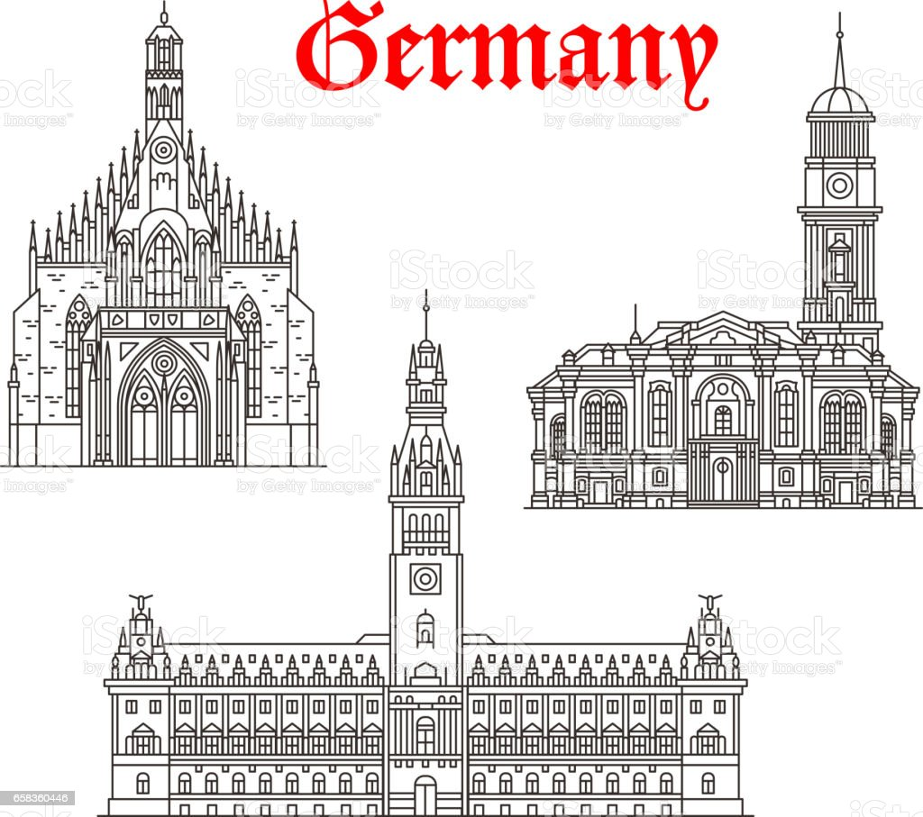 Architecture buildings of Germany vector icons vector art illustration