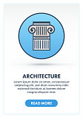 Architecture column web banner illustration with icon. Modern flat concept for website or infographics.