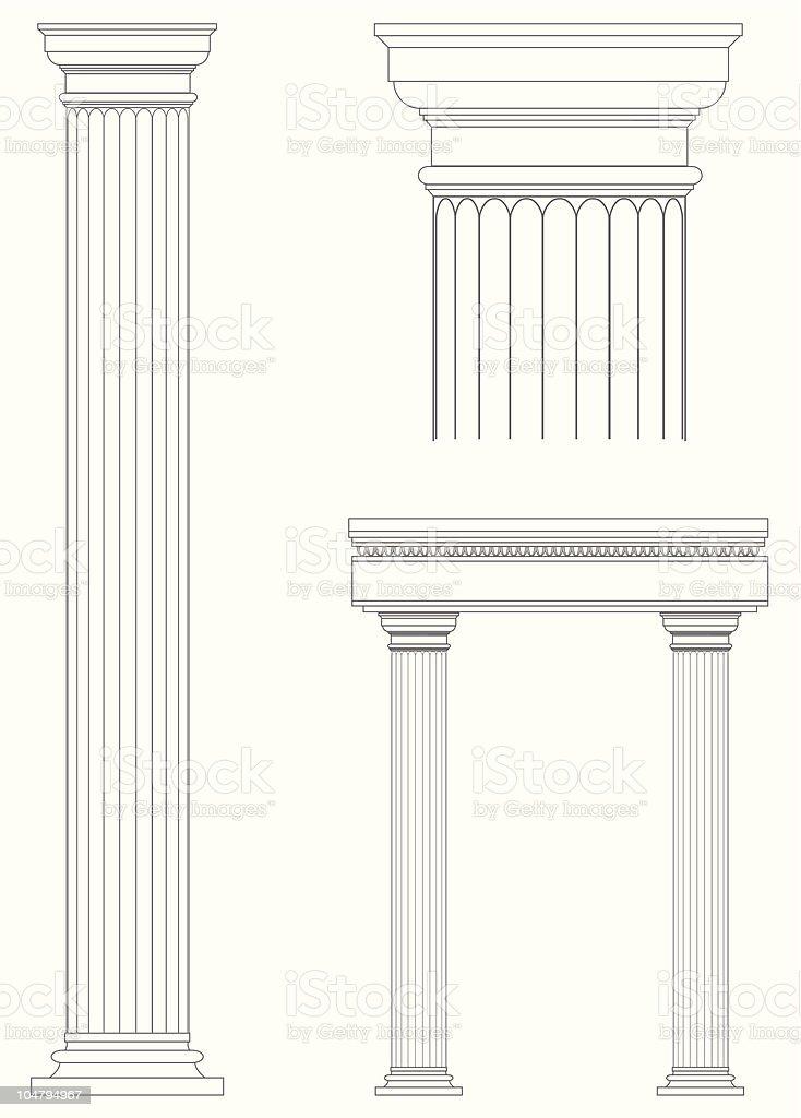 Architecture columns blueprint design vector art illustration