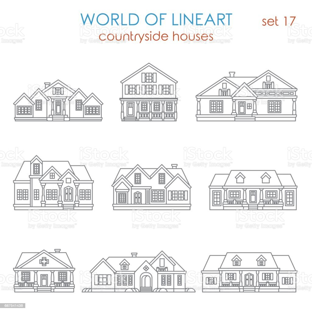 Architecture countryside house townhouse graphical line art style icon set. World of lineart collection. vector art illustration