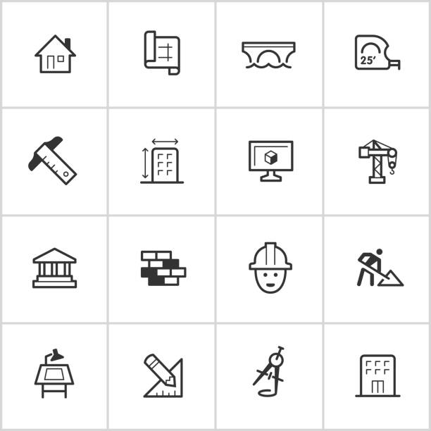 Architecture & Design Icons — Inky Series vector art illustration
