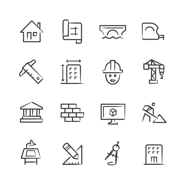 Architecture & Design Icons — Sketchy Series vector art illustration