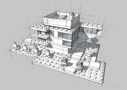 Architecture from white plastic blocks.