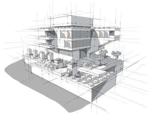 Architecture des blocs en plastique blancs. - Illustration vectorielle