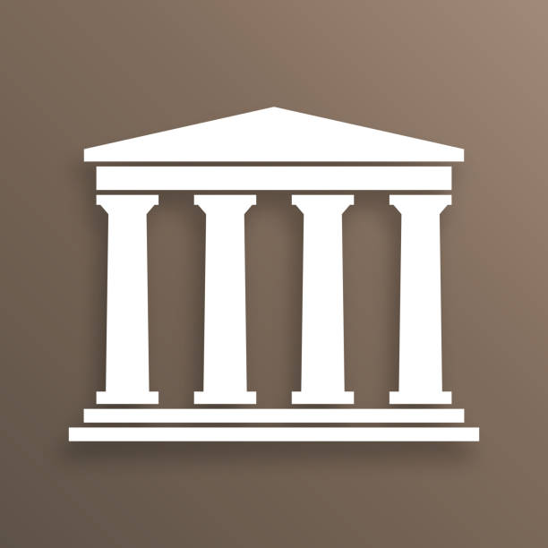 Architecture greek symbol Architecture greek building symbol, with shadow, brown background classical greek stock illustrations