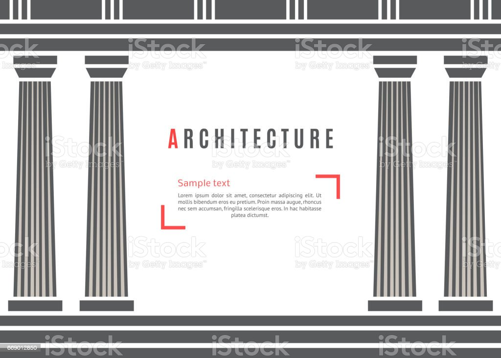Architecture greek temple background vector art illustration