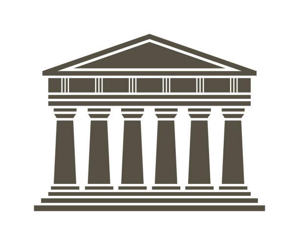 stockillustraties, clipart, cartoons en iconen met pictogram van de griekse tempel van het platform - athens