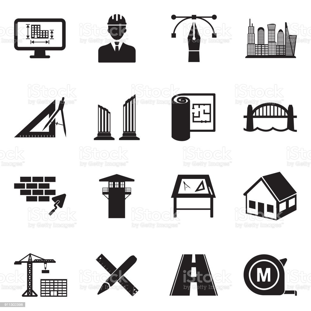 Architecture Icons. Black Flat Design. Vector Illustration. vector art illustration