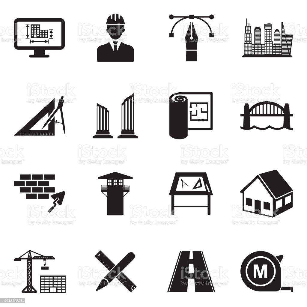 Icônes de l'architecture. Design plat noir. Illustration vectorielle. - Illustration vectorielle