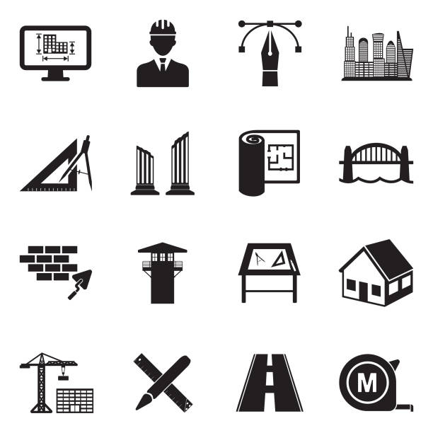 architecture icons. black flat design. vector illustration. - konstrukcja budowlana stock illustrations