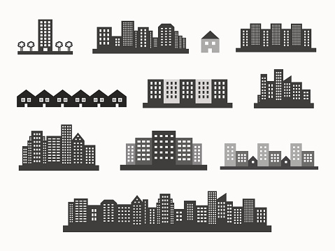 Architecture icons silhouettes set