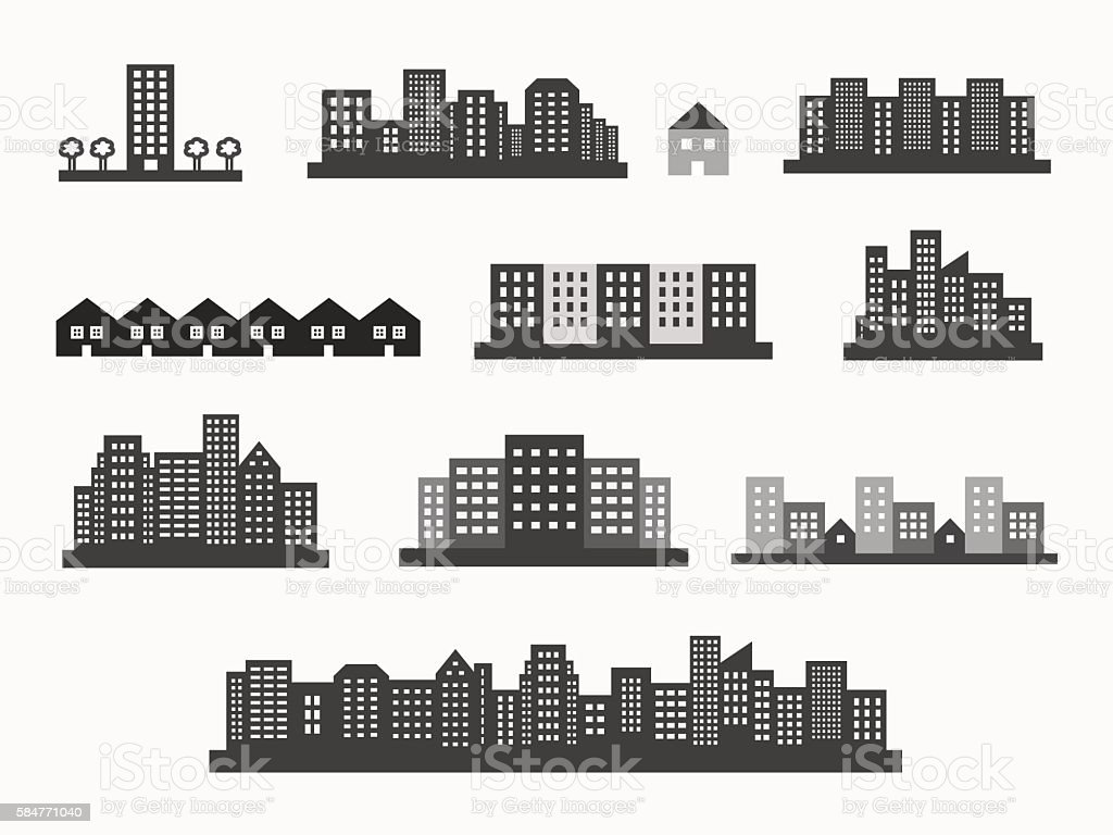 Architecture icons silhouettes set vector art illustration