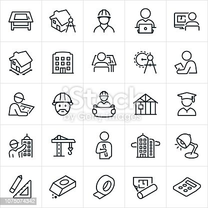 A set of architecture icons. The icons include drawing board, home construction, architect, planning, designing, structure, building, architect working, drawing compass, blueprints, building construction, crane, tools and other related icons.