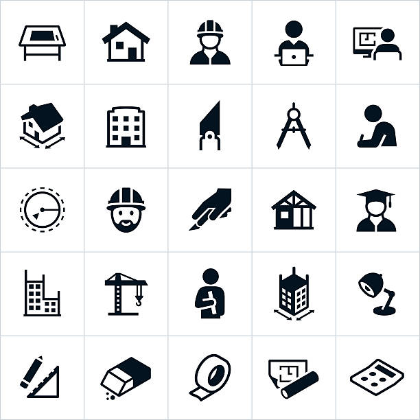 architecture icons - architect stock illustrations, clip art, cartoons, & icons