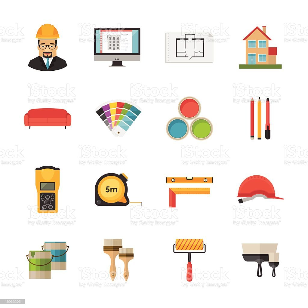Architecture Interior Design And Repairs Vector Flat Desing Icons