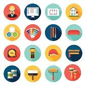 Architecture, Interior design and repairs vector icons