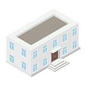 Architecture isometric house isolated on white background