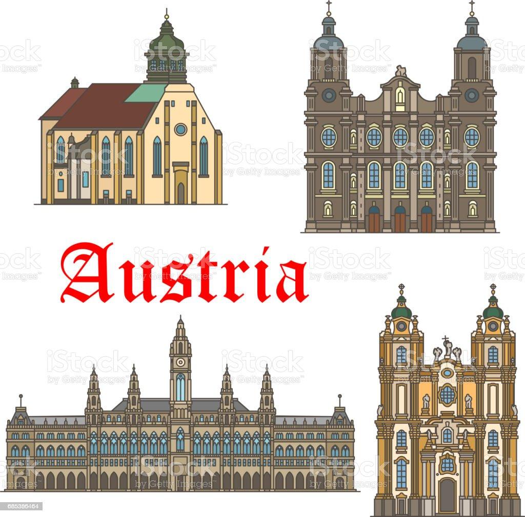 Architecture landmarks of Austria vector icons
