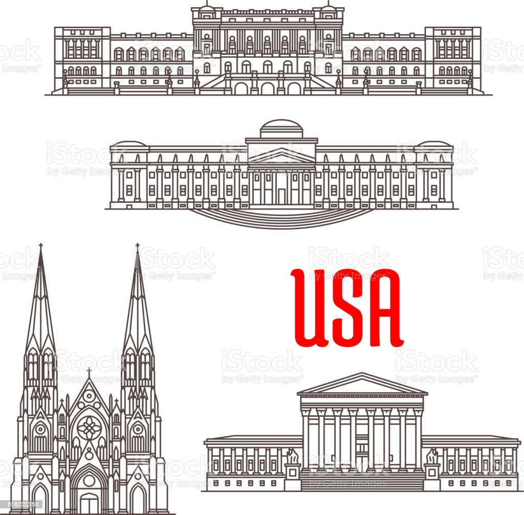 Architecture landmarks of USA vector art illustration