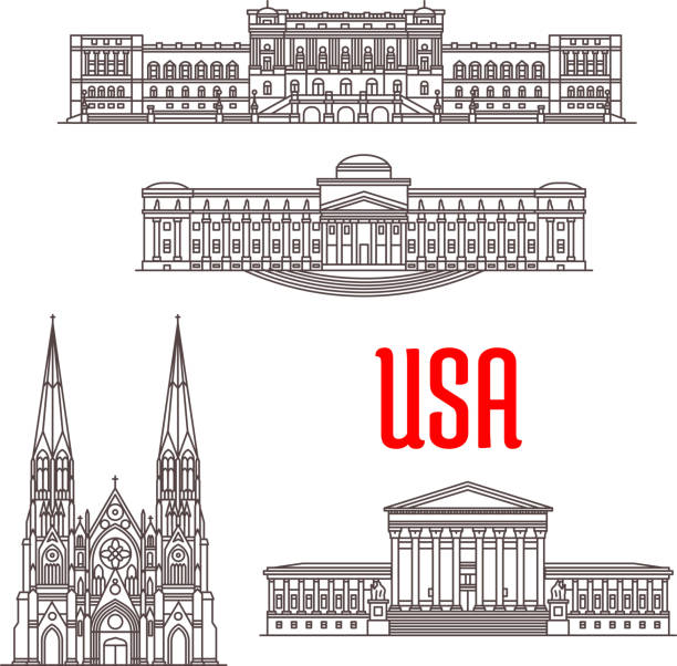 Architecture landmarks of USA United States Supreme Court, Library of Congress, Brooklyn Museum, St Patrick Cathedral. Famous architecture landmarks of USA. Vector icons of buildings for souvenirs, travel map guide elements supreme court stock illustrations