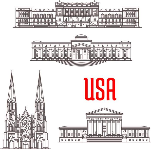 architecture landmarks of usa - abd yüksek mahkemesi binası stock illustrations