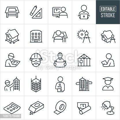A set of architecture icons that include editable strokes or outlines using the EPS vector file. The icons include a drawing table, architects, draftsmen, tools, people working, blue prints, house, house plans, building, drawing compass, construction workers, construction, hard hats, home construction, inspector, architectural drawings, skyscrapers, education, graduate, calculator and other tools.