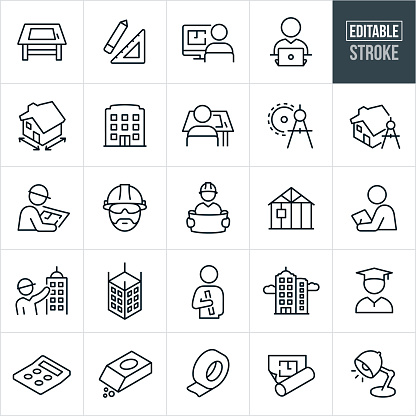 Architecture Line Icons - Editable Stroke clipart