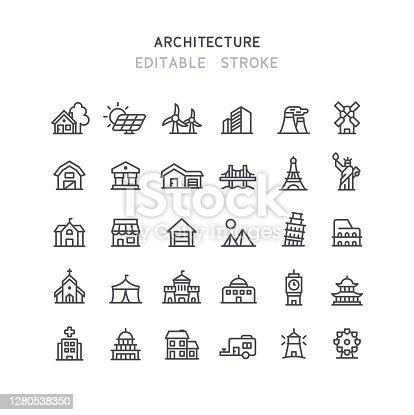 istock Architecture Line Icons Editable Stroke 1280538350