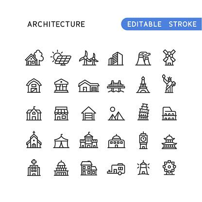 Architecture Line Icons Editable Stroke