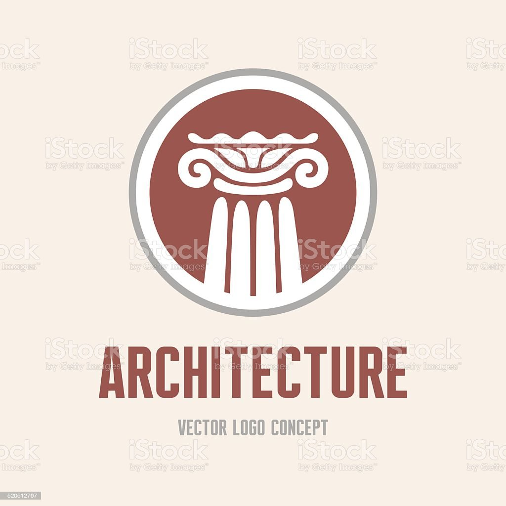 Architecture - logo concept. Antique column abstract sign. vector art illustration