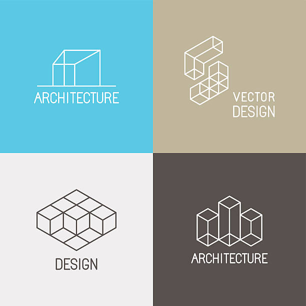 architecture logos - architecture icons stock illustrations