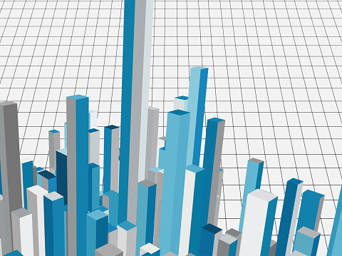 Architecture model in lines grid background