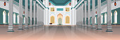 architecture of nabawi mosque building interior muslim religion concept horizontal flat vector illustration