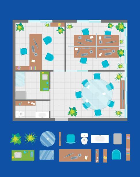 architektur büroplan mit mobiliar und teile draufsicht. vektor - tischarrangements stock-grafiken, -clipart, -cartoons und -symbole