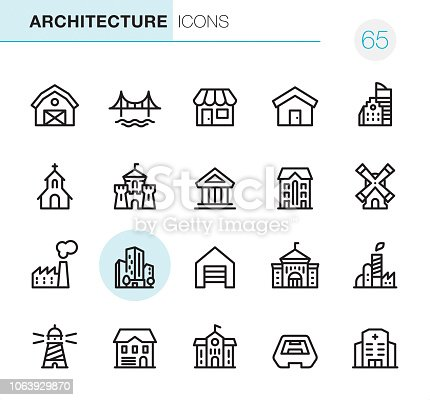20 Outline Style - Black line - Pixel Perfect icons / Set #65 / Architecture / Icons are designed in 48x48pх square, outline stroke 2px.  First row of outline icons contains:  Barn, Bridge, Store, House, Built Structure;  Second row contains:  Church, Castle, Public Building, Residential Building, Windmill;  Third row contains:  Factory, Skyscraper, Garage, University, Industrial Building;   Fourth row contains:  Lighthouse, Cottage, School Building, Stadium, Hospital.  Complete Primico collection - https://www.istockphoto.com/collaboration/boards/NQPVdXl6m0W6Zy5mWYkSyw