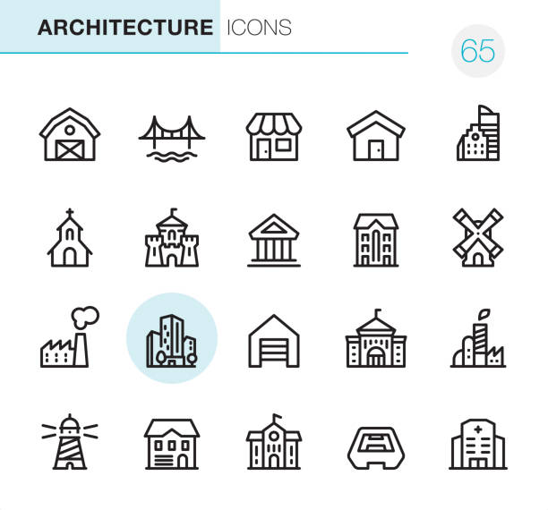 Architecture - Pixel Perfect icons 20 Outline Style - Black line - Pixel Perfect icons / Set #65 / Architecture / Icons are designed in 48x48pх square, outline stroke 2px.  First row of outline icons contains:  Barn, Bridge, Store, House, Built Structure;  Second row contains:  Church, Castle, Public Building, Residential Building, Windmill;  Third row contains:  Factory, Skyscraper, Garage, University, Industrial Building;   Fourth row contains:  Lighthouse, Cottage, School Building, Stadium, Hospital.  Complete Primico collection - https://www.istockphoto.com/collaboration/boards/NQPVdXl6m0W6Zy5mWYkSyw church stock illustrations