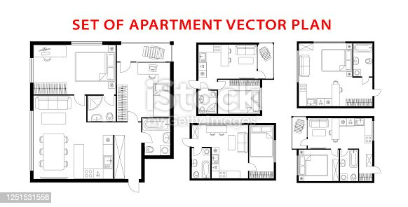 Architecture plan apartment set, studio, condominium, flat, house. One, two bedroom apartment. Interior design elements kitchen, bedroom, bathroom with furniture. Vector architecture plan. Top view.