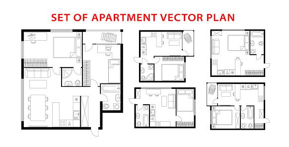 Architecture plan apartment set, studio, condominium, flat, house. One, two bedroom apartment. Interior design elements kitchen, bedroom, bathroom with furniture. Vector architecture plan. Top view.