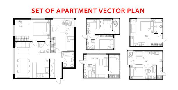 illustrazioni stock, clip art, cartoni animati e icone di tendenza di set di piano di architettura di appartamento, studio, condominio, appartamento, casa. - appartamento
