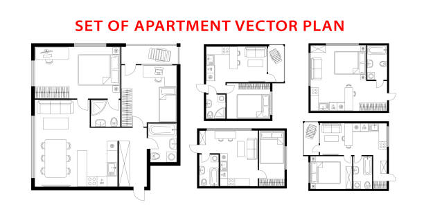 Architecture plan set of apartment, studio, condominium, flat, house. Architecture plan apartment set, studio, condominium, flat, house. One, two bedroom apartment. Interior design elements kitchen, bedroom, bathroom with furniture. Vector architecture plan. Top view. architecture icons stock illustrations