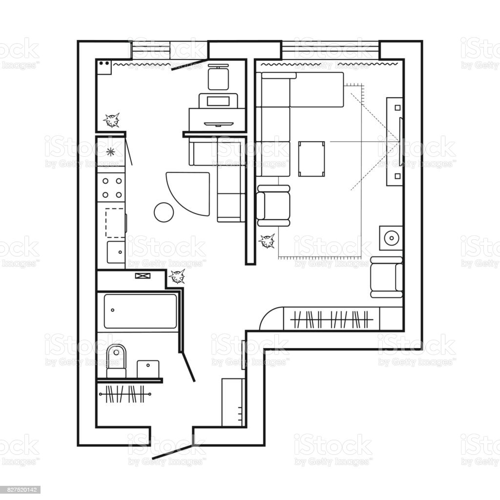 Architecture Plan With Furniture House Floor Plan Kitchen ...