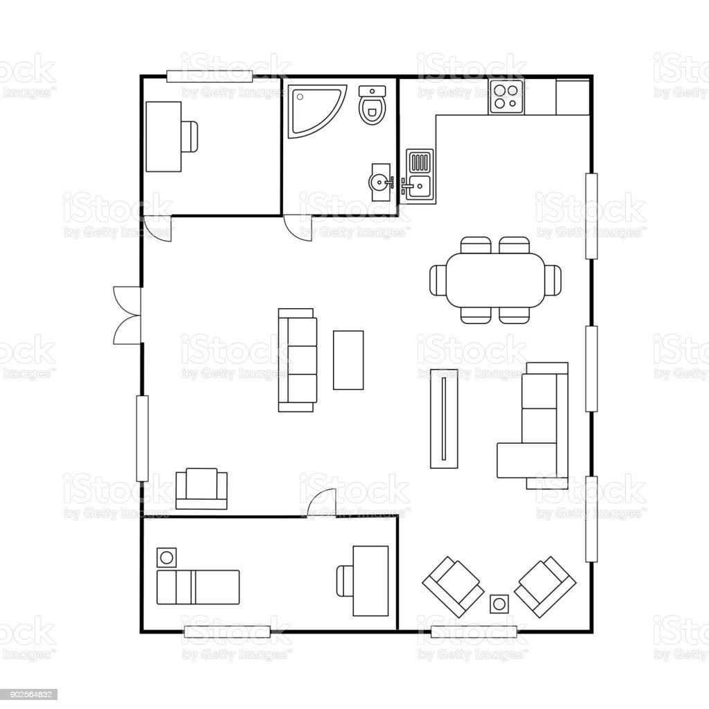 Architecture Plan With Furniture House Floor Plan Stock Vector Art ...