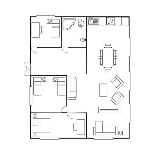 Architecture plan with furniture. House floor plan, Architecture plan with furniture. House floor plan, isolated on white background, stock vector illustration bathroom designs stock illustrations