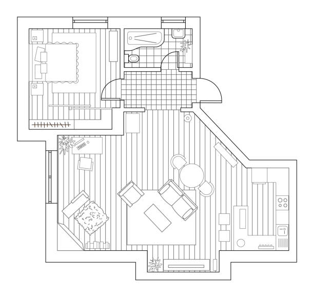 Architecture plan with furniture in top view. Coloring book Architecture plan with furniture in top view. Coloring book. bathroom designs stock illustrations