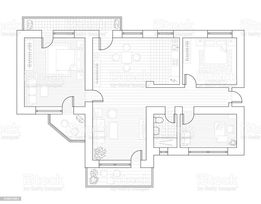 Architecture plan with furniture in top view. Coloring book vector art illustration