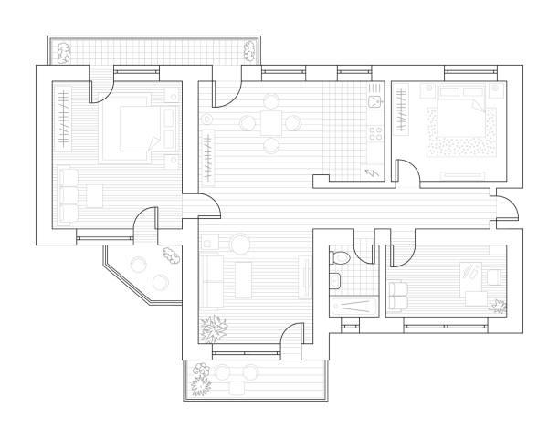 illustrations, cliparts, dessins animés et icônes de plan d'architecture avec des meubles en vue de dessus. livre de coloriage - architecture