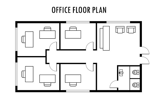 Architecture plan with furniture. Office floor plan, isolated on white background,