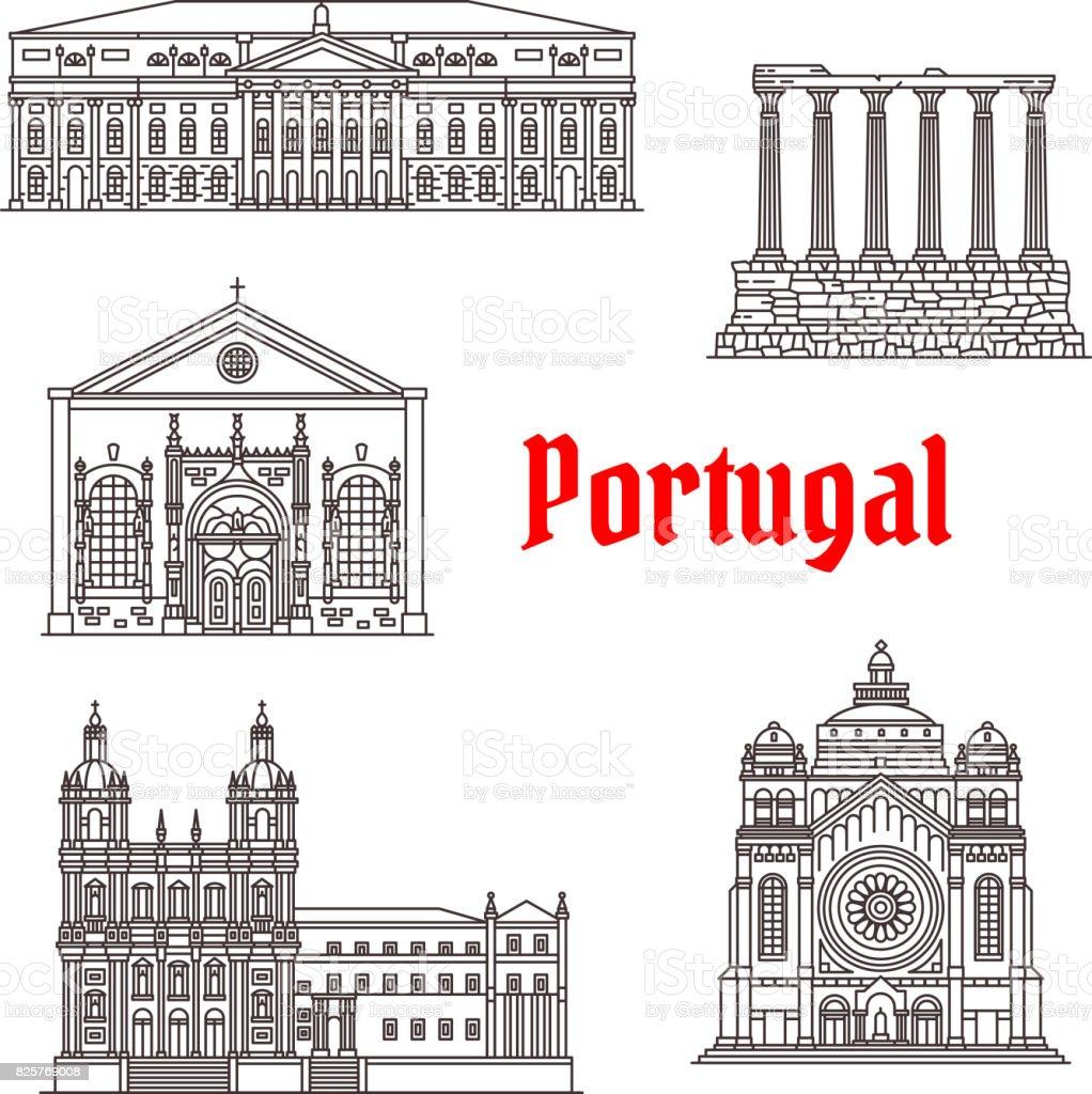 Architecture Portugal landmark vector buildings - ilustração de arte vetorial